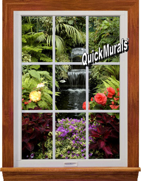 Garden Waterfall Window Wall Mural