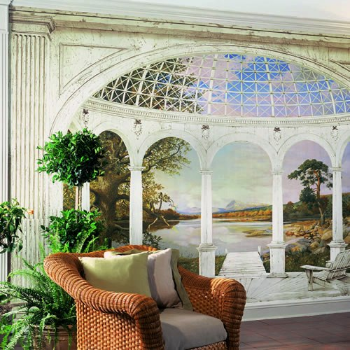 White Arches Wall Mural roomsetting