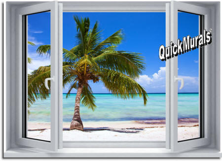 Palm View Window Wall Mural