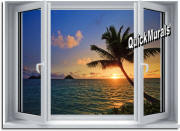 sunset palm window mural