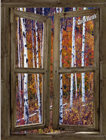 Wilderness cabin window wall mural