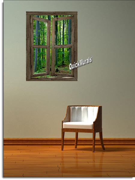 Woodland Cabin Window Wall Mural ROOMSETTING