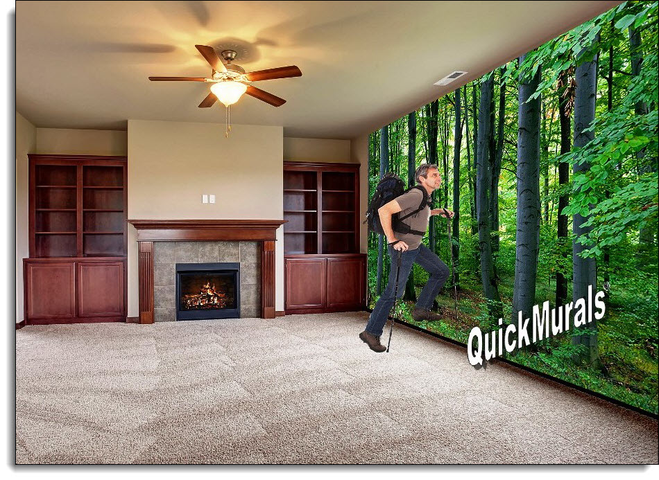 woodland forest mural roomsetting