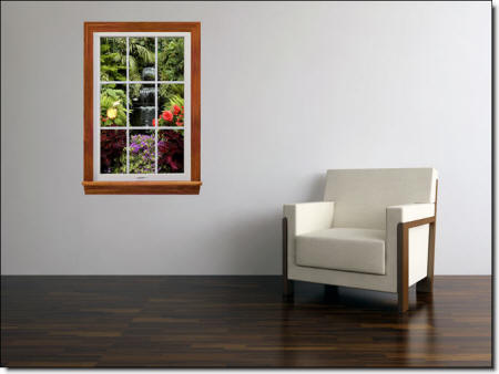 Garden Waterfall Window Wall Mural Roomsetting