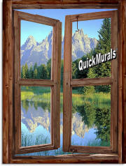 mountain cabin window mural