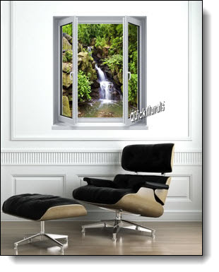 Black Forest Waterfall Window Mural Roomsetting