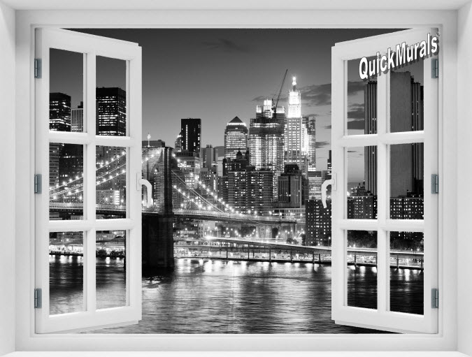 Brooklyn Bridge Black and White Instant Window Mural