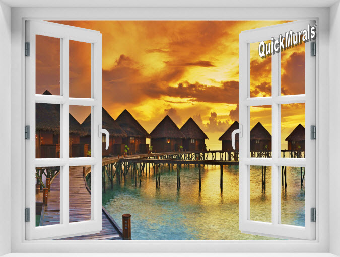 Sunset Resort Instant Window Mural