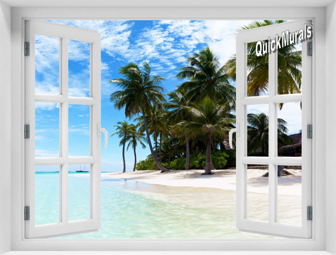 Waikiki Beach Hawaii Instant Window Mural