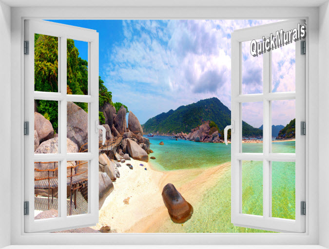 Tropical Island Instant Window Mural