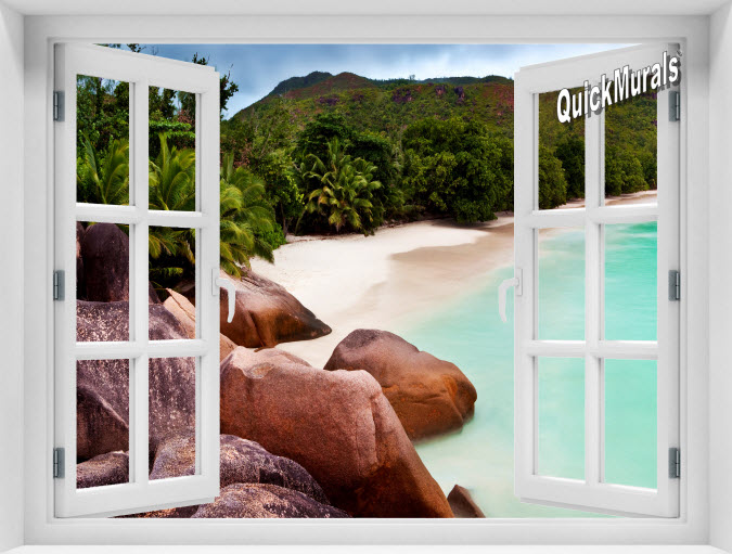 Barbados Island Beach Instant Window Mural