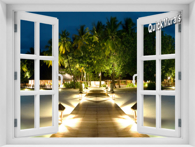 Mirihi Island at Night Instant Window Mural