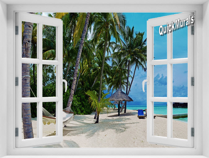 Tropical Island Resort Instant Window Mural