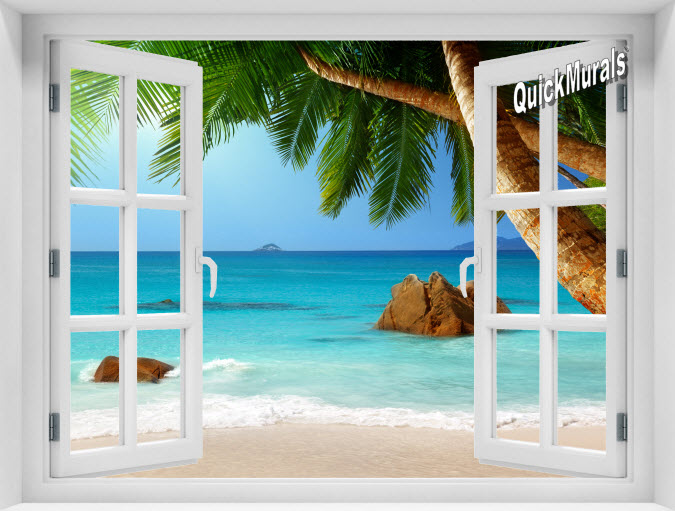 Secluded Beach Instant Window Mural