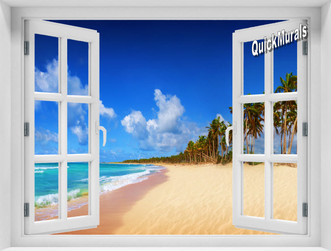 Seychelles Beach Instant Window Mural