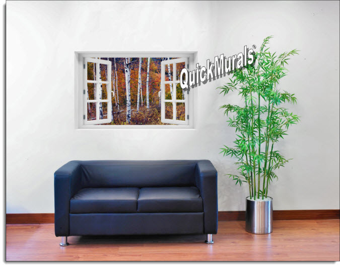 Autumn Birch Forest Instant Window Mural roomsetting