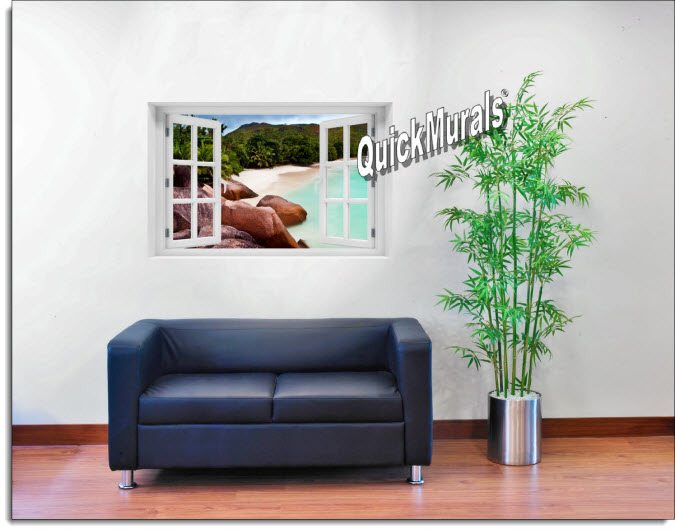 Barbados Island Beach Instant Window Mural roomsetting