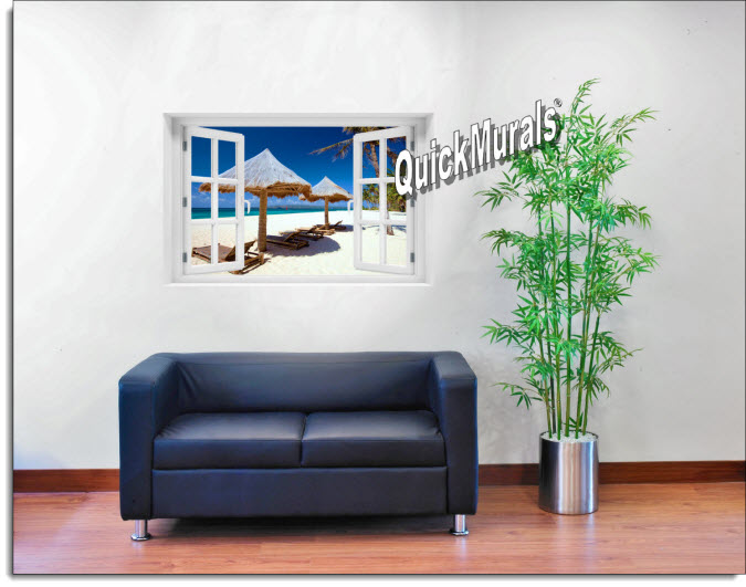 Beach Chairs Instant Window Mural roomsetting