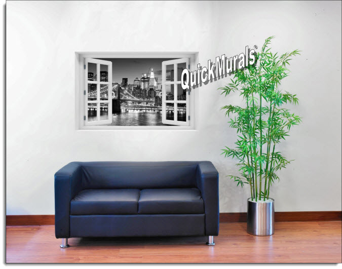 Brooklyn Bridge Black and White Instant Window Mural roomsetting