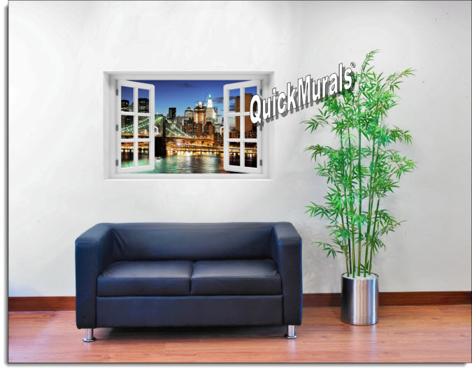 Brooklyn Bridge Color Instant Window Mural roomsetting