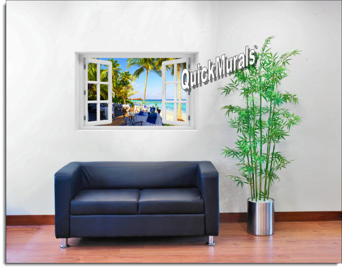 Oceanside Cafe Instant Window Mural roomsetting