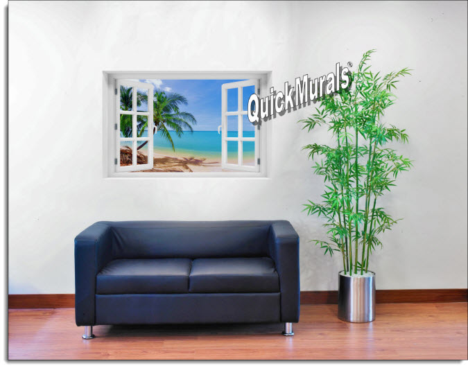 Coconut Beach #1 Instant Window Mural roomsetting