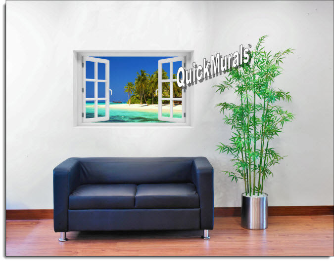 Cook Island Instant Window Mural roomsetting