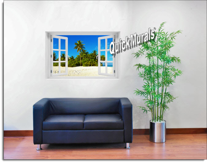 Curacoa Island Instant Window Mural roomsetting
