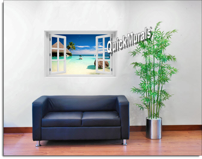 Turtle Island Fiji Instant Window Mural roomsetting