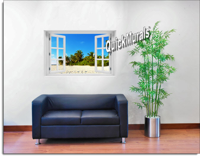 Island Getaway Instant Window Mural roomsetting