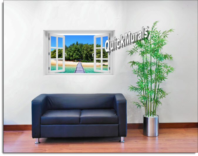 Maldives Island Instant Window Mural roomsetting