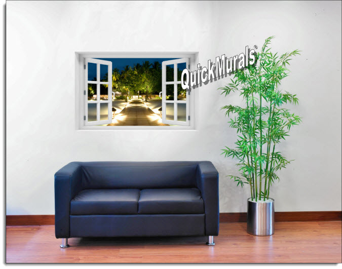 Mirihi Island at Night Instant Window Mural roomsetting