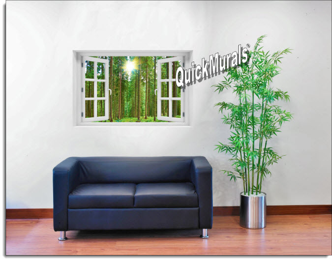 Morning Forest Instant Window Mural roomsetting