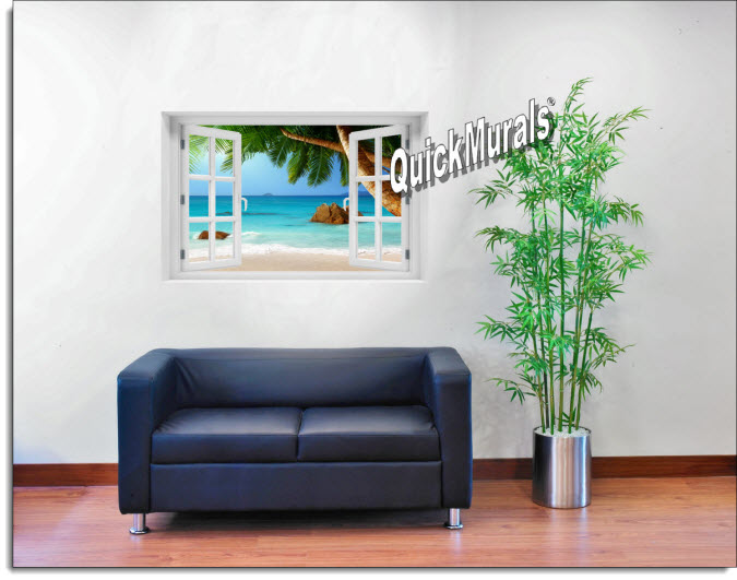 Secluded Beach Instant Window Mural roomsetting
