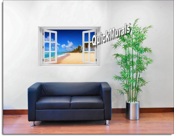 Seychelles Beach Instant Window Mural roomsetting