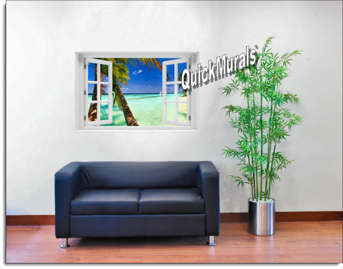 Tahiti Instant Window Mural roomsetting