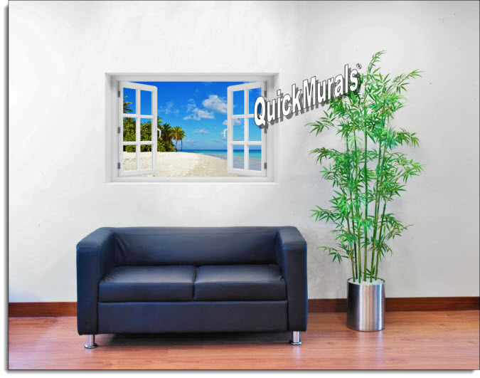 Tropical Escape Instant Window Mural roomsetting