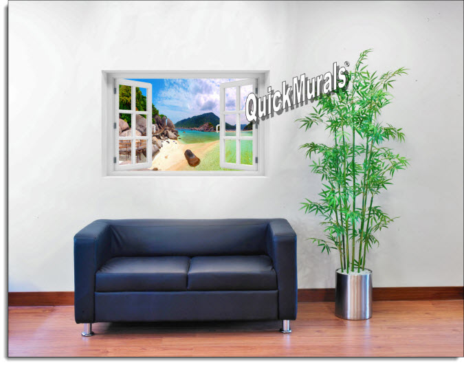 Tropical Island Instant Window Mural room