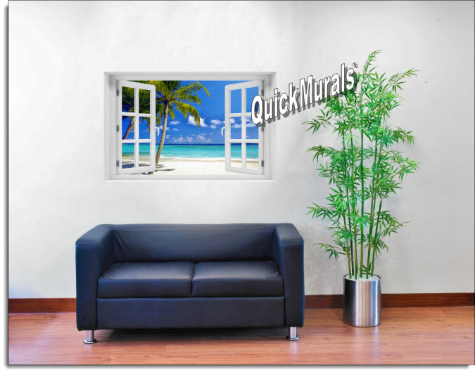 Tropical Ocean Instant Window Mural roomsetting