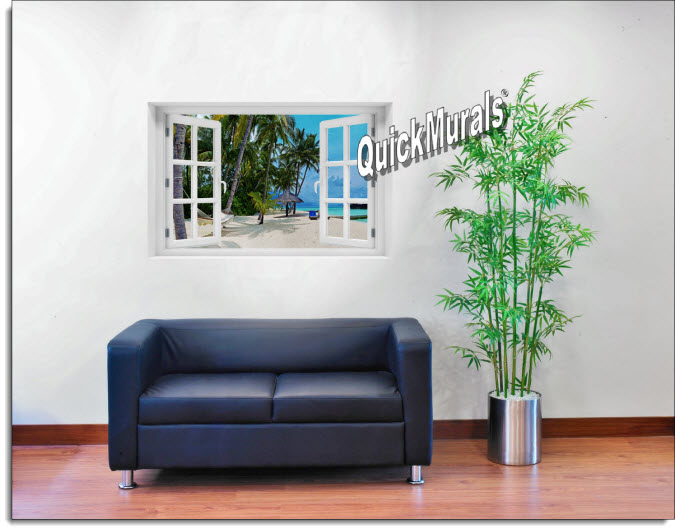 Tropical Island Resort Instant Window Mural roomsetting