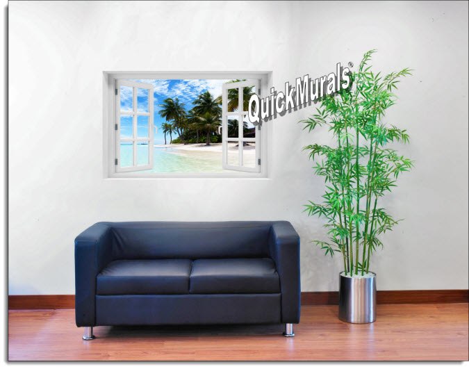 Waikiki Beach Hawaii Instant Window Mural roomsetting