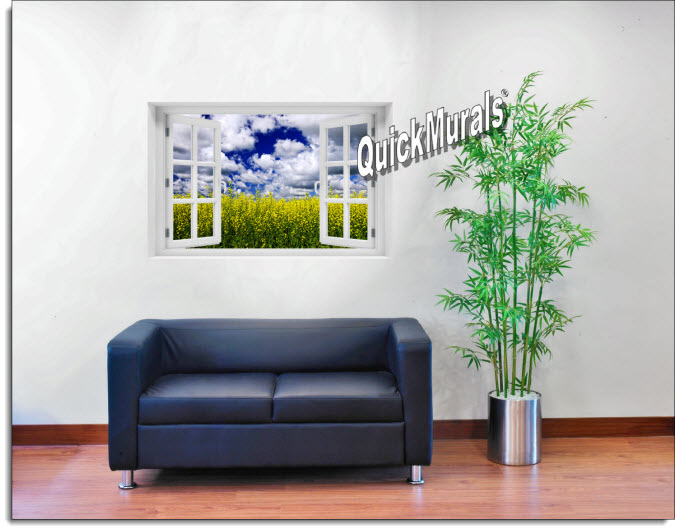 Waves of Grain Instant Window Mural roomsetting