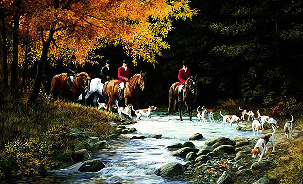 Traditional Hunt Scene Wall Mural