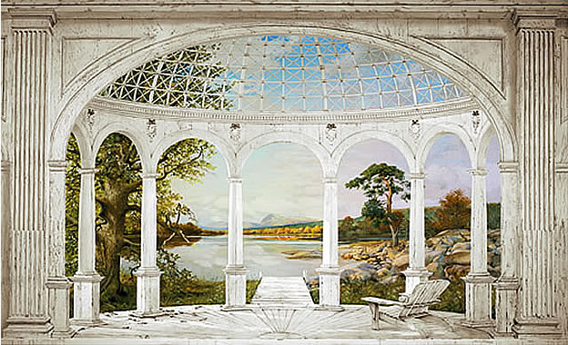 White Arches Wall Mural